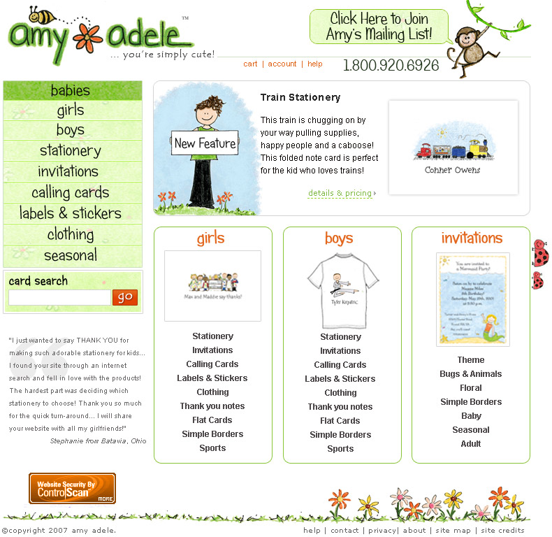 Amy Adele Website - Greeting Card Website Design